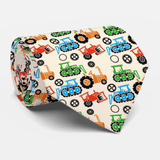 Playful Toy Tractors Cream Beige Neck Tie