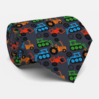 Playful Toy Tractors Gray Neck Tie