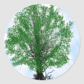 Playful tree blue sky drawing computer graphic classic round sticker