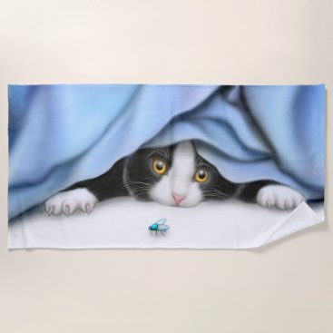 Beach Themed Playful Tuxedo Kitten Beach Towel