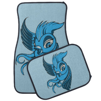 Playful Two Toned Blue Bird Car Mat