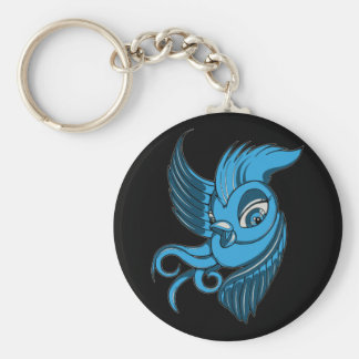 Playful Two Toned Blue Bird Keychain