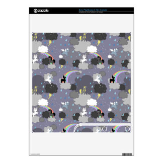 Playful Unicorns in the Rain PS3 Slim Console Decals