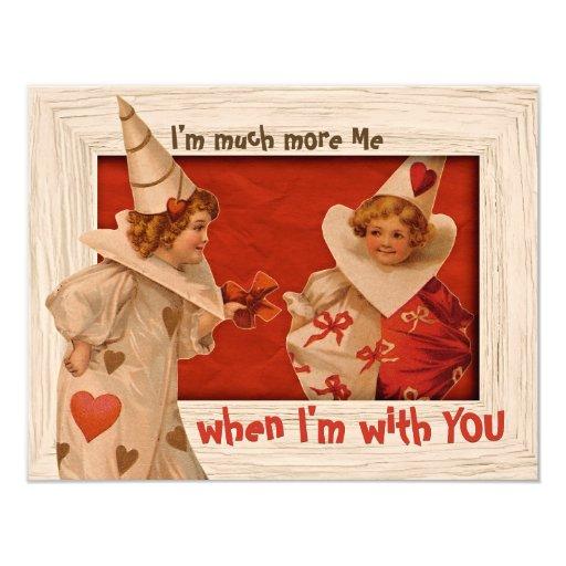 Playful Vintage Pierrot CC0662 Valentine Flat Card