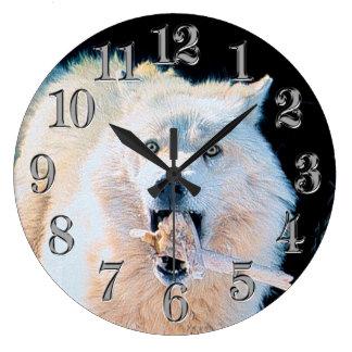 Playful White Arctic Wolf Photo Art Portrait Large Clock