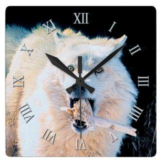 Playful White Arctic Wolf Photo Art Portrait Square Wall Clock