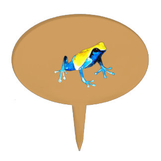 Playfully Adorable Blue & Yellow Watercolor Frog Cake Topper