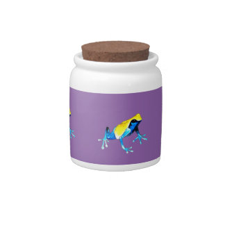Playfully Adorable Blue & Yellow Watercolor Frog Candy Jars