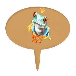 Playfully Adorable Green & Yellow Watercolor Frog Cake Topper