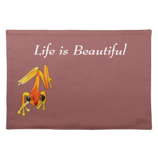 Playfully Adorable Orange & Yellow Watercolor Frog Cloth Placemat