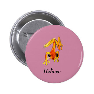 Playfully Adorable Orange & Yellow Watercolor Frog Pinback Button