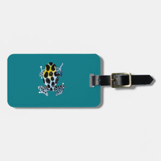 Playfully Adorable Spotty Colorful Watercolor Frog Bag Tag