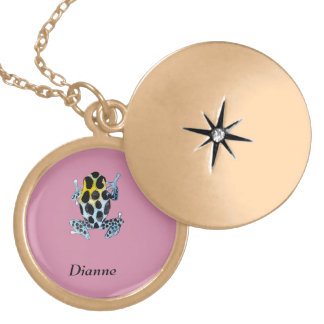 Playfully Adorable Spotty Colorful Watercolor Frog Locket Necklace