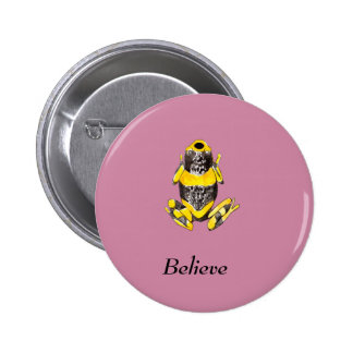 Playfully Adorable Yellow & Black Watercolor Frog Pinback Button