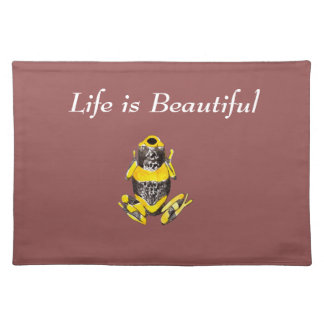 Playfully Adorable Yellow & Black Watercolor Frog Placemat
