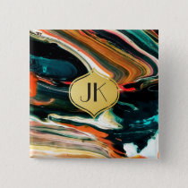 Playfully Artsy Edgy Abstract Monogram Button