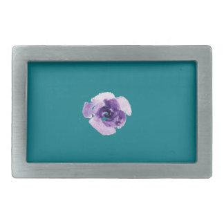 Playfully Beautiful Purple Rose Floral Watercolor Rectangular Belt Buckle