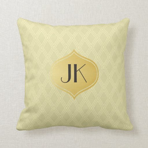 Playfully Cool Geometric Shapes Gold Monogram Throw Pillow Zazzle