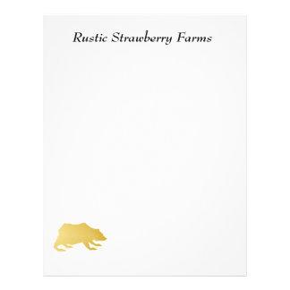 Playfully Elegant Hand Drawn Gold Actionable Bear Letterhead