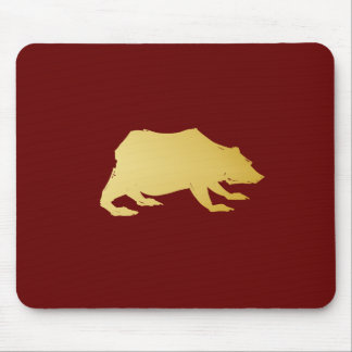 Playfully Elegant Hand Drawn Gold Actionable Bear Mouse Pad