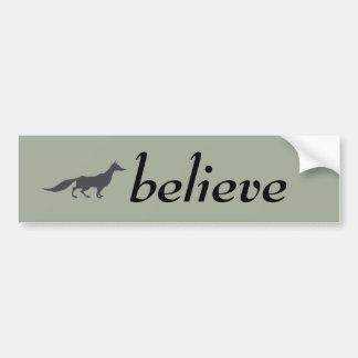 Playfully Elegant Hand Drawn Grey Fox Bumper Sticker