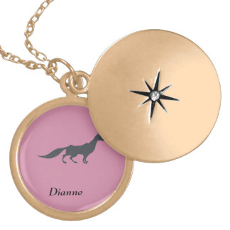 Playfully Elegant Hand Drawn Grey Fox Gold Plated Necklace