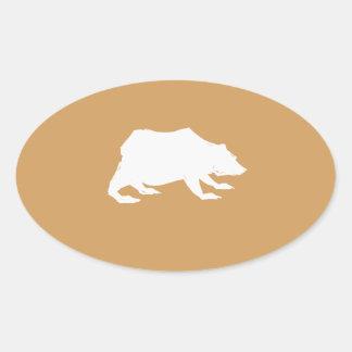 Playfully Elegant Hand Drawn White Actionable Bear Oval Sticker
