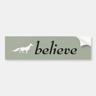 Playfully Elegant Hand Drawn White Fox Bumper Sticker