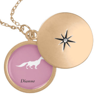 Playfully Elegant Hand Drawn White Fox Gold Plated Necklace