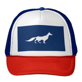 Playfully Elegant Hand Drawn White Fox Trucker Hat
