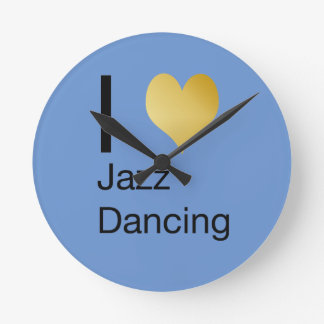 Playfully Elegant I Heart Jazz Dancing Round Clock
