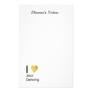 Playfully Elegant I Heart Jazz Dancing Stationery