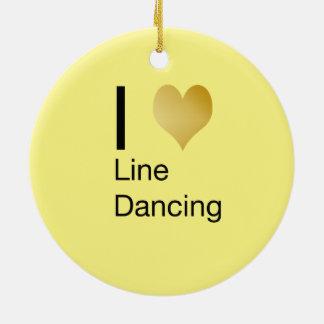 Playfully Elegant  I Heart Line Dancing Ceramic Ornament