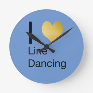 Playfully Elegant  I Heart Line Dancing Round Clock
