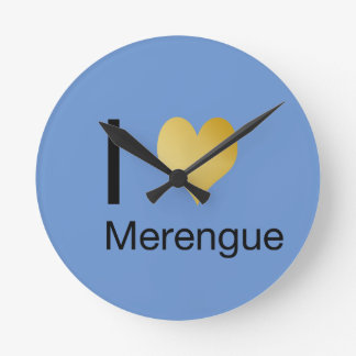 Playfully Elegant I Heart Merengue Round Clock