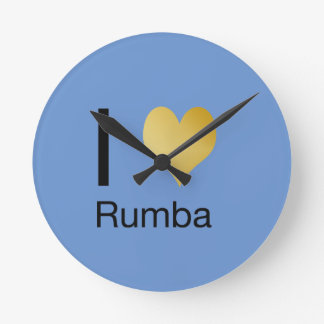 Playfully Elegant I Heart Rumba Round Clock