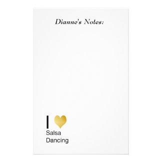 Playfully Elegant I Heart Salsa Dancing Stationery