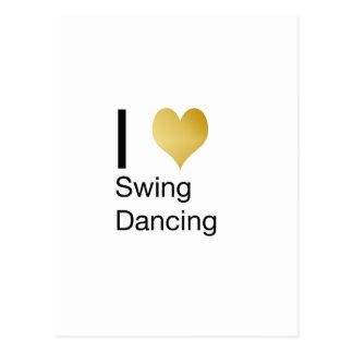Playfully Elegant  I Heart Swing Dancing Postcard