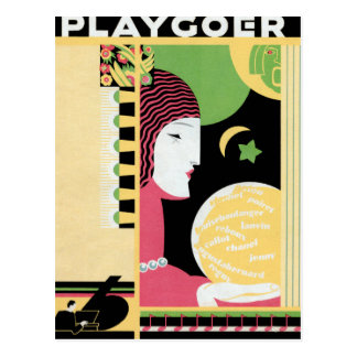 """PLAYGOER"" VINTAGE ART DECO CELESTIAL POSTCARD"