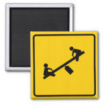 Playground Area Highway Sign 2 Inch Square Magnet
