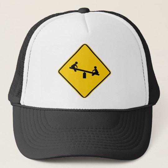 Playground Area Highway Sign Trucker Hat