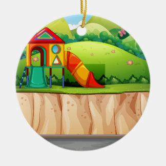 Playground at the park ceramic ornament