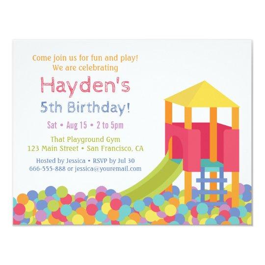 Playground Gym Ball Pits Kid Birthday Party Invitation Zazzle Com