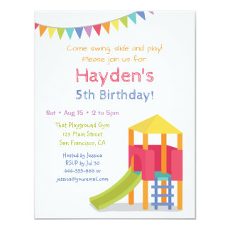Playground House Kids Birthday Party Invitations