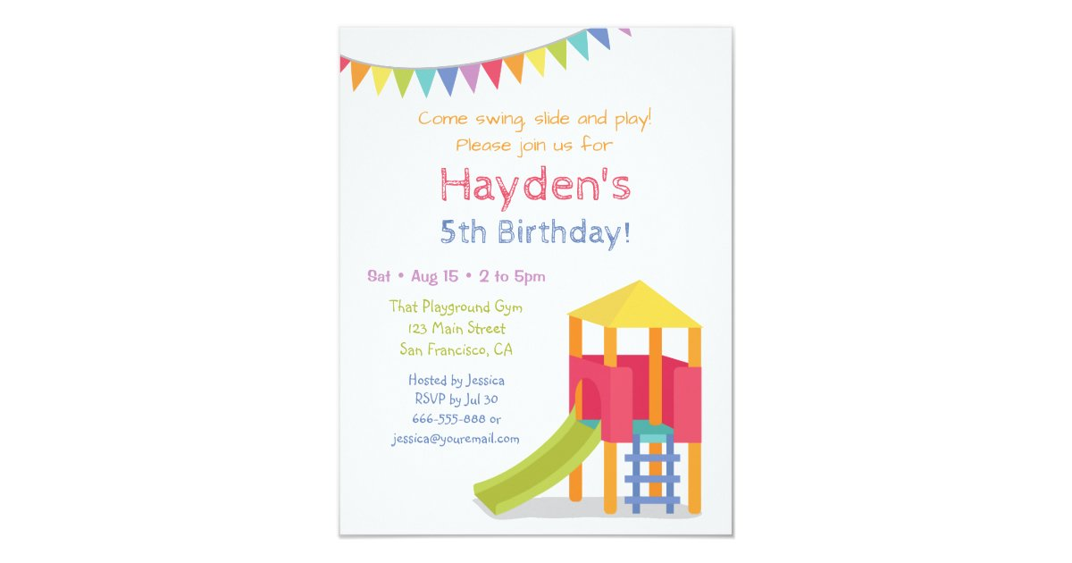 Playground House Kids Birthday Party Invitations | Zazzle.com
