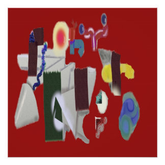 Playground in Red - Digital Abstract Painting Poster
