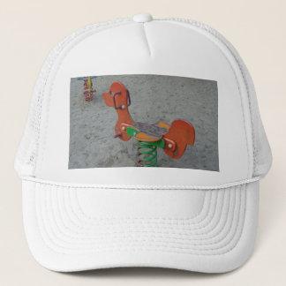 Playground Orange Dog Toy in Sand Trucker Hat