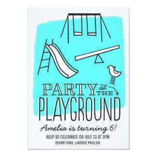"""Playground Party Invite - Aqua 5"""" X 7"""" Invitation Card"""