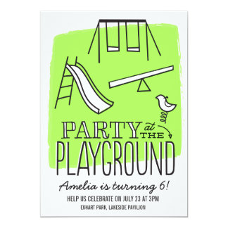 "Playground Party Invite - Lime 5"" X 7"" Invitation Card"
