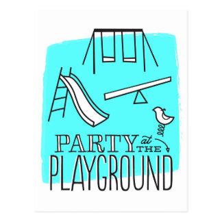 Playground Party Postcard Invite - Aqua
